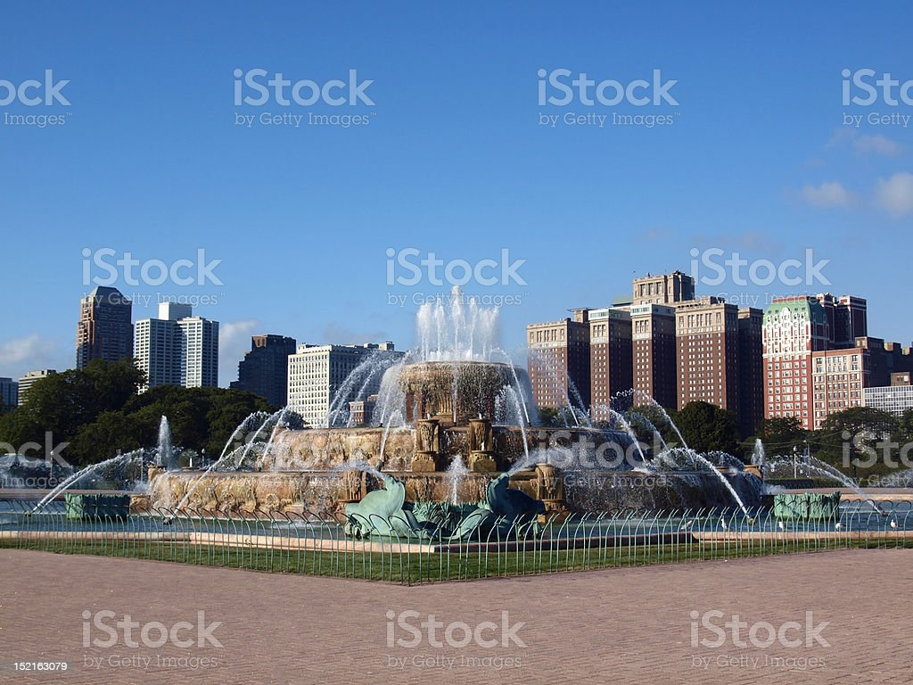 Buckingham Fountain and Skyscrapers in Chicago royalty-free stock photo
