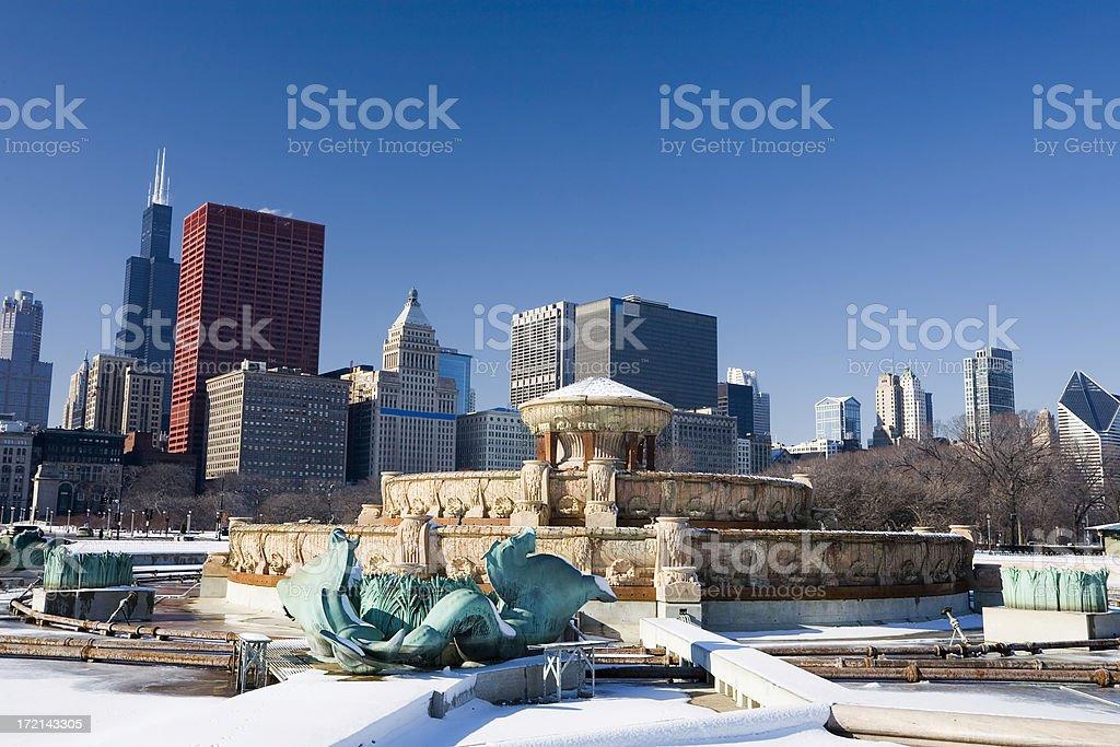Buckingham Fountain in Winter royalty-free stock photo