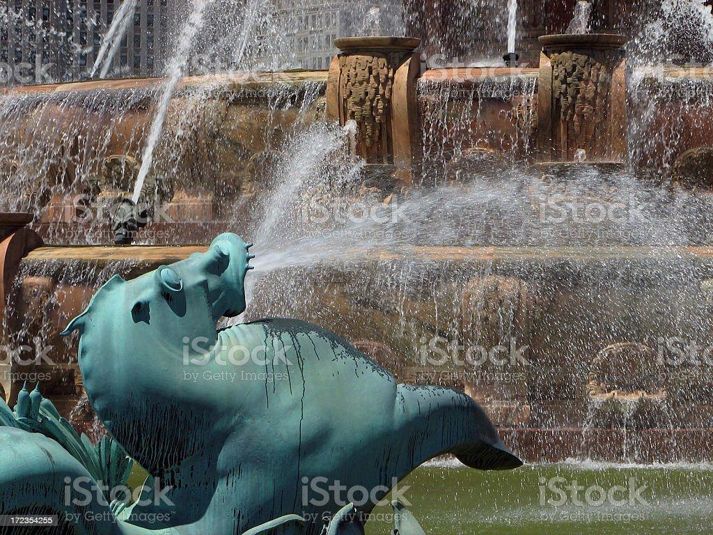 Buckingham Fountain Sea Horse Closeup royalty-free stock photo
