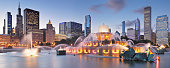 Panorama of the Buckingham Fountain and the Chicago skyline at night (Chicago, Illinois).