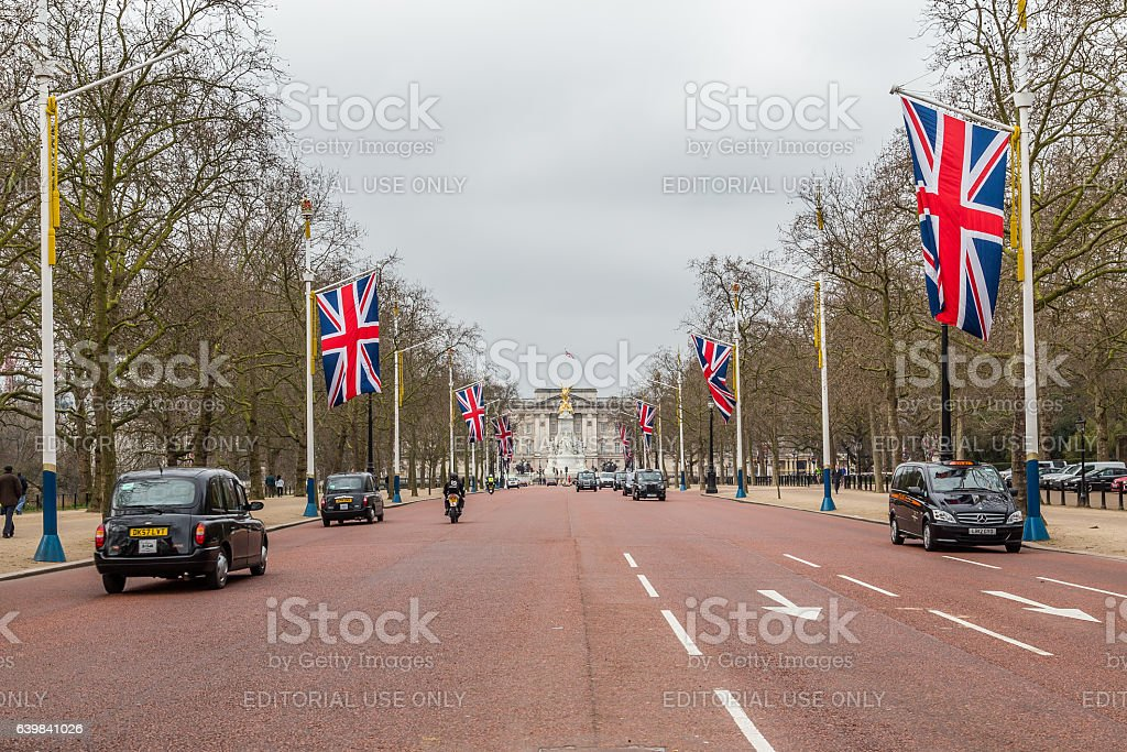 Buckingham Palace and the Mall in London stock photo