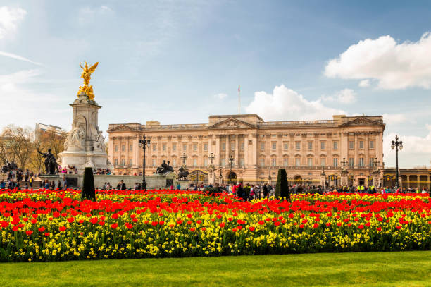 Buckingham Palace and Victoria Memorial at spring time. stock photo