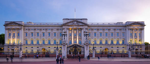 Buckingham Palace at night in London, England stock photo