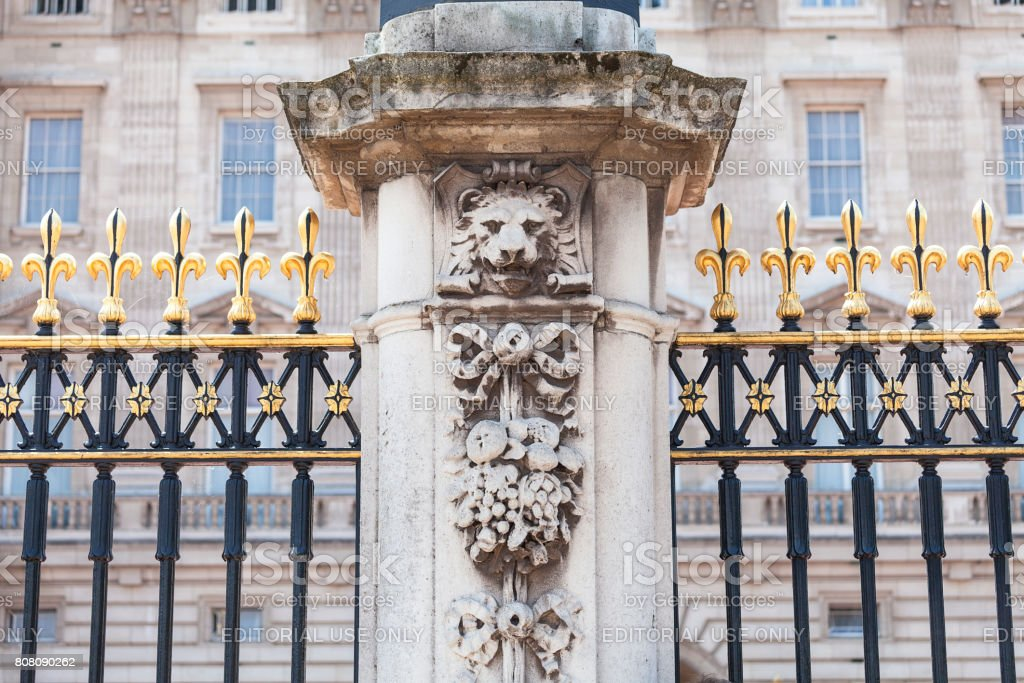 Buckingham Palace, details of decorative fence, London, United Kingdom stock photo
