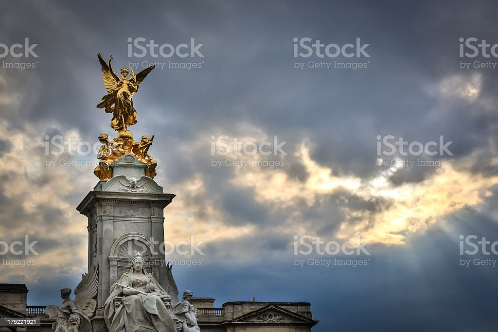 Buckingham Palace Gold Statue at Sunset, London, UK royalty-free stock photo