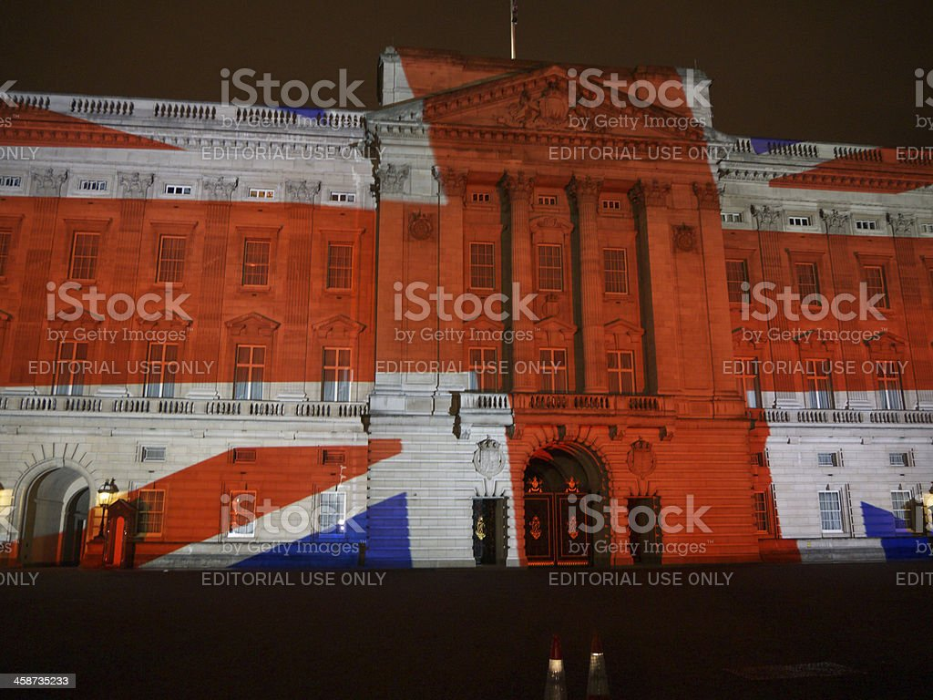 Buckingham Palace projection of portraits royalty-free stock photo