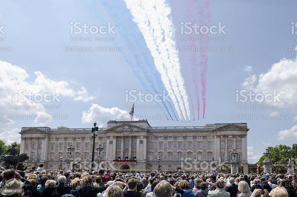 Buckingham Palace Red Arrows flypast, London stock photo