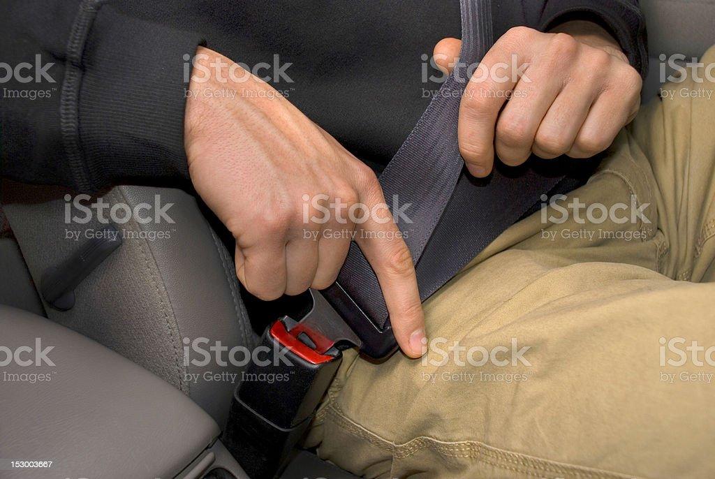 Buckling Up a Car Seat Belt stock photo