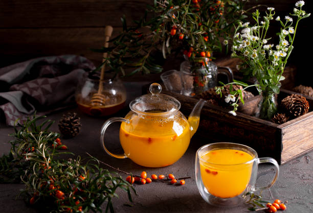 облепиховый чай с мятой - 씨벅턴 뉴스 사진 이미지