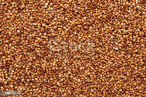 Buckwheat texture closeup. Food  background.
