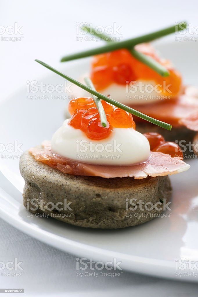 Buckwheat Blinis with Caviar stock photo