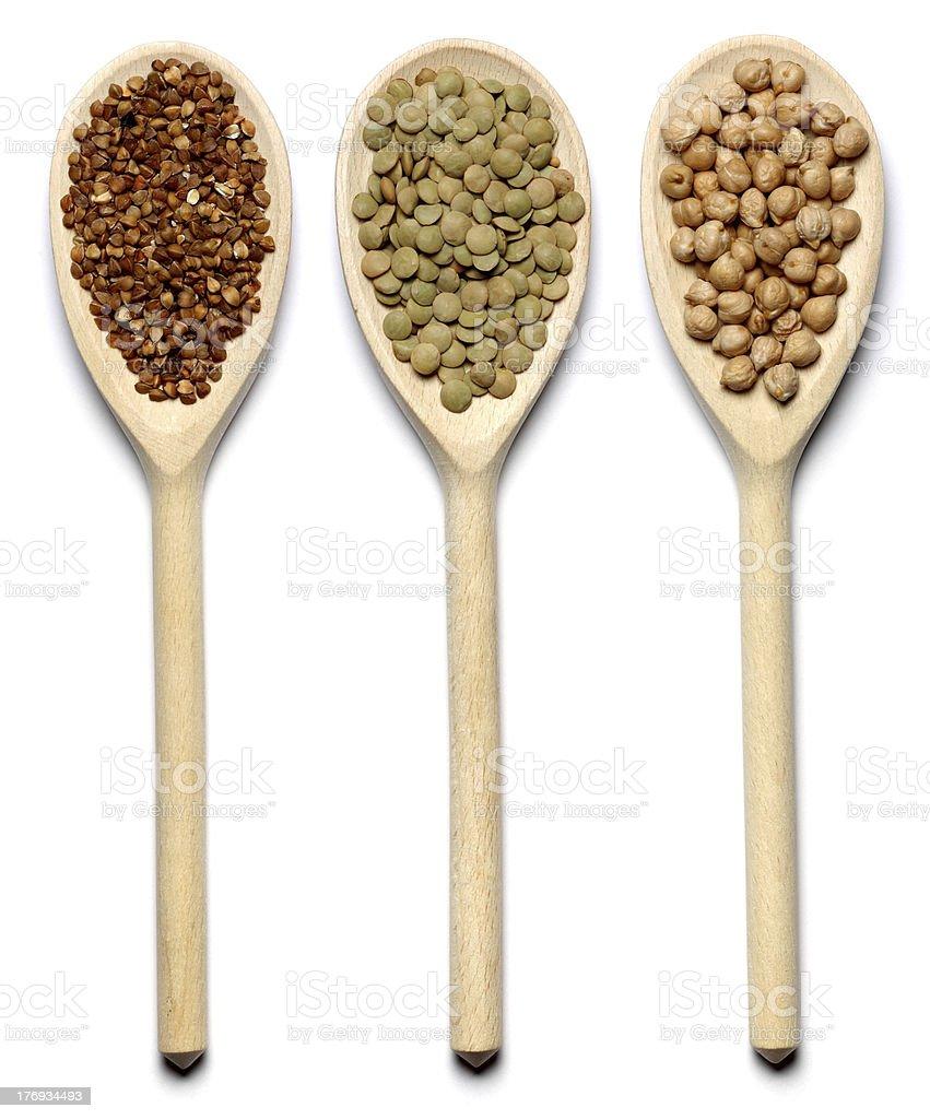 buckwheat, green lentils, chick-pea royalty-free stock photo