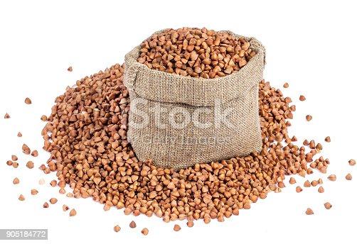 istock Buckwheat in bag isolated on white background 905184772