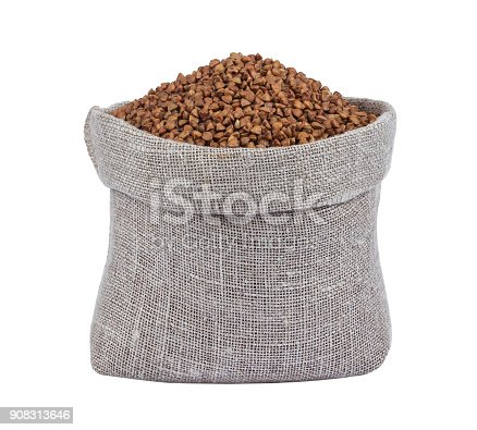 istock Buckwheat in bag isolated on white background 908313646