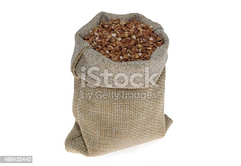 istock buckwheat in linen bag on white background 466433440