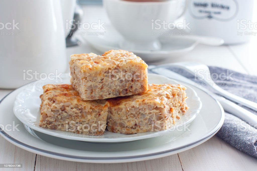 Buckwheat Krupenik with cottage cheese, traditional Russian cuisine, horizontal stock photo
