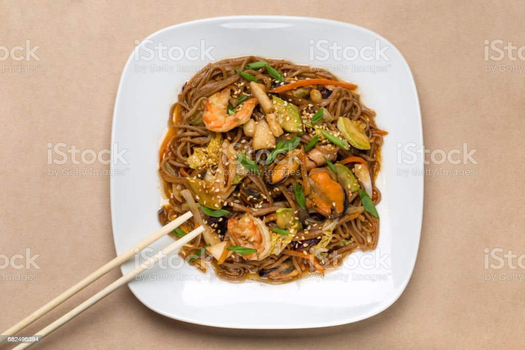 buckwheat noodles with seafood in restaurant royalty-free stock photo