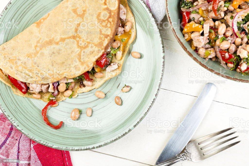 Buckwheat Pancake. Mexican Quesadilla. zbiór zdjęć royalty-free