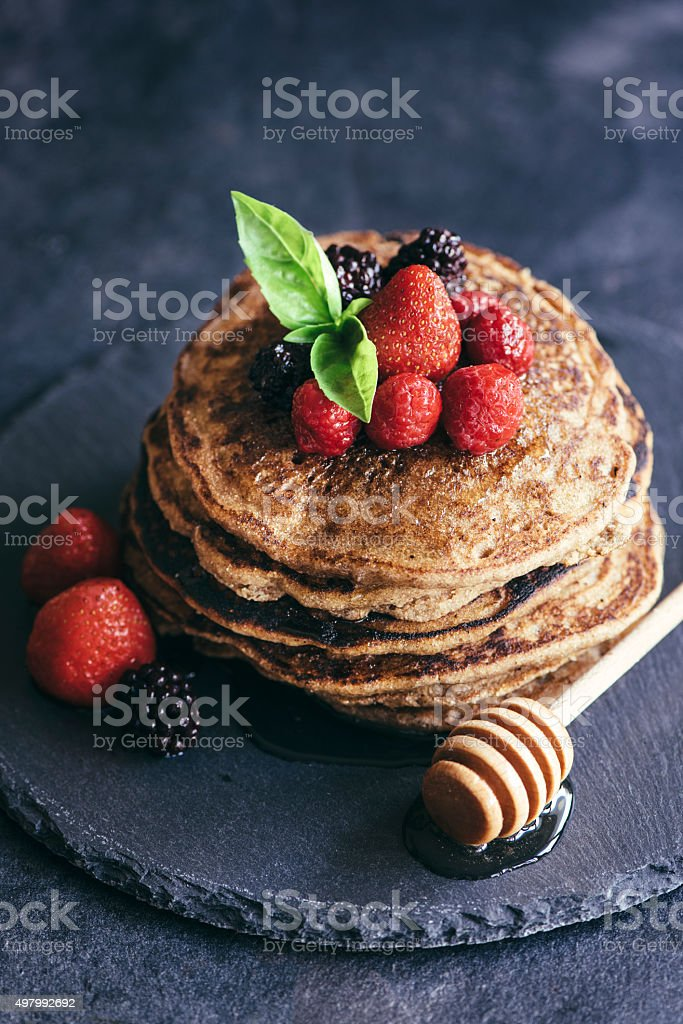 Buckwheat pancakes stock photo