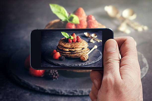 Buckwheat pancakes with fruit stock photo
