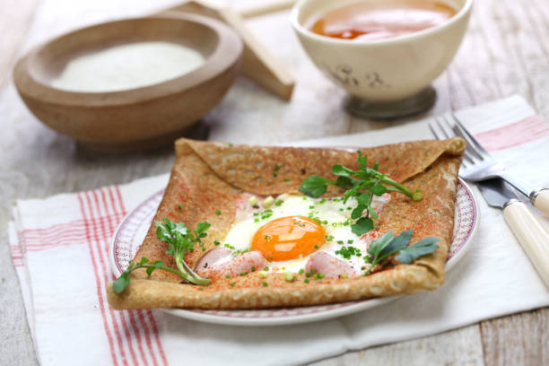 galette sarrasin, buckwheat crepe galette sarrasin, buckwheat crepe, french brittany cuisine hauts de france stock pictures, royalty-free photos & images