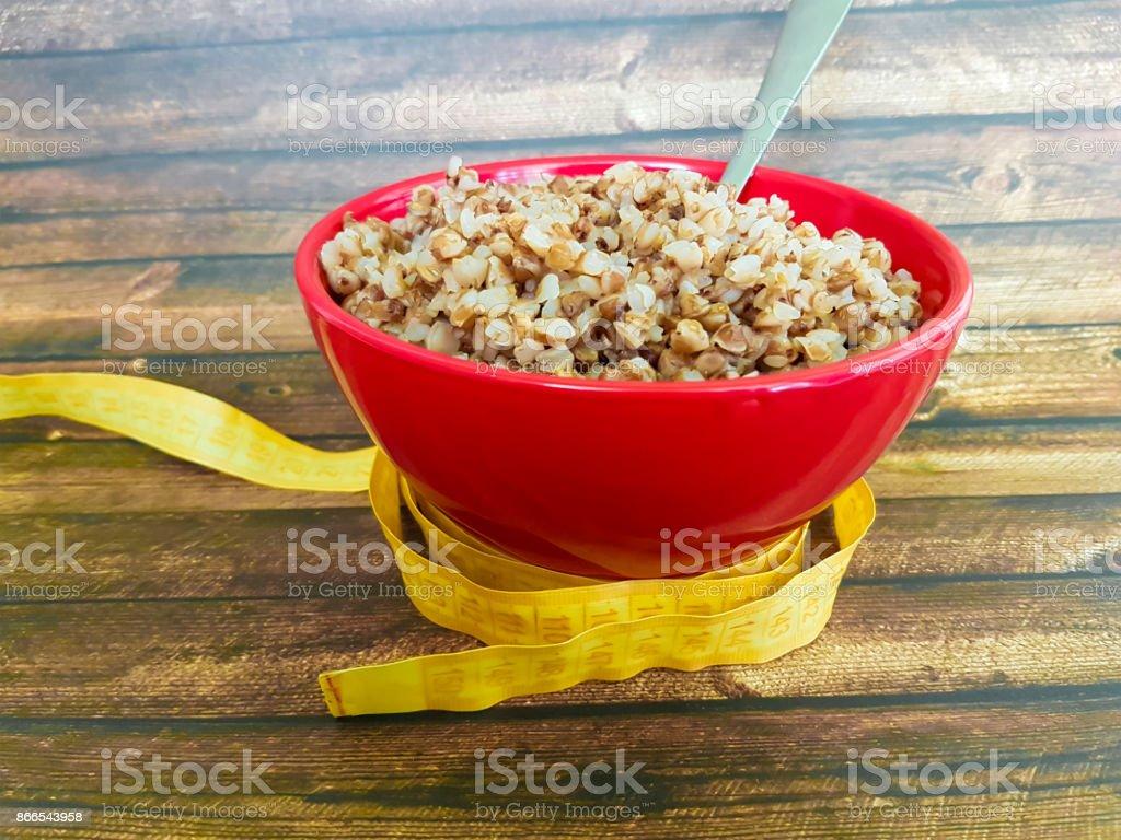 buckwheat plate centimeter stock photo