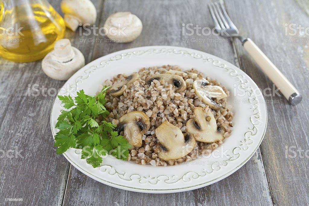 Buckwheat porridge with mushrooms royalty-free stock photo
