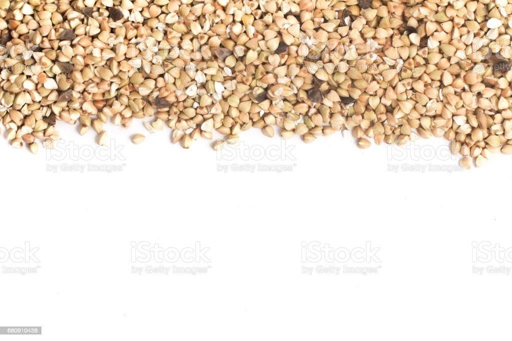 Buckwheat seeds. Trigo Sarraceno Frame royalty-free stock photo