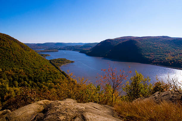 Bucolic view of the Hudson River valley in autumn stock photo