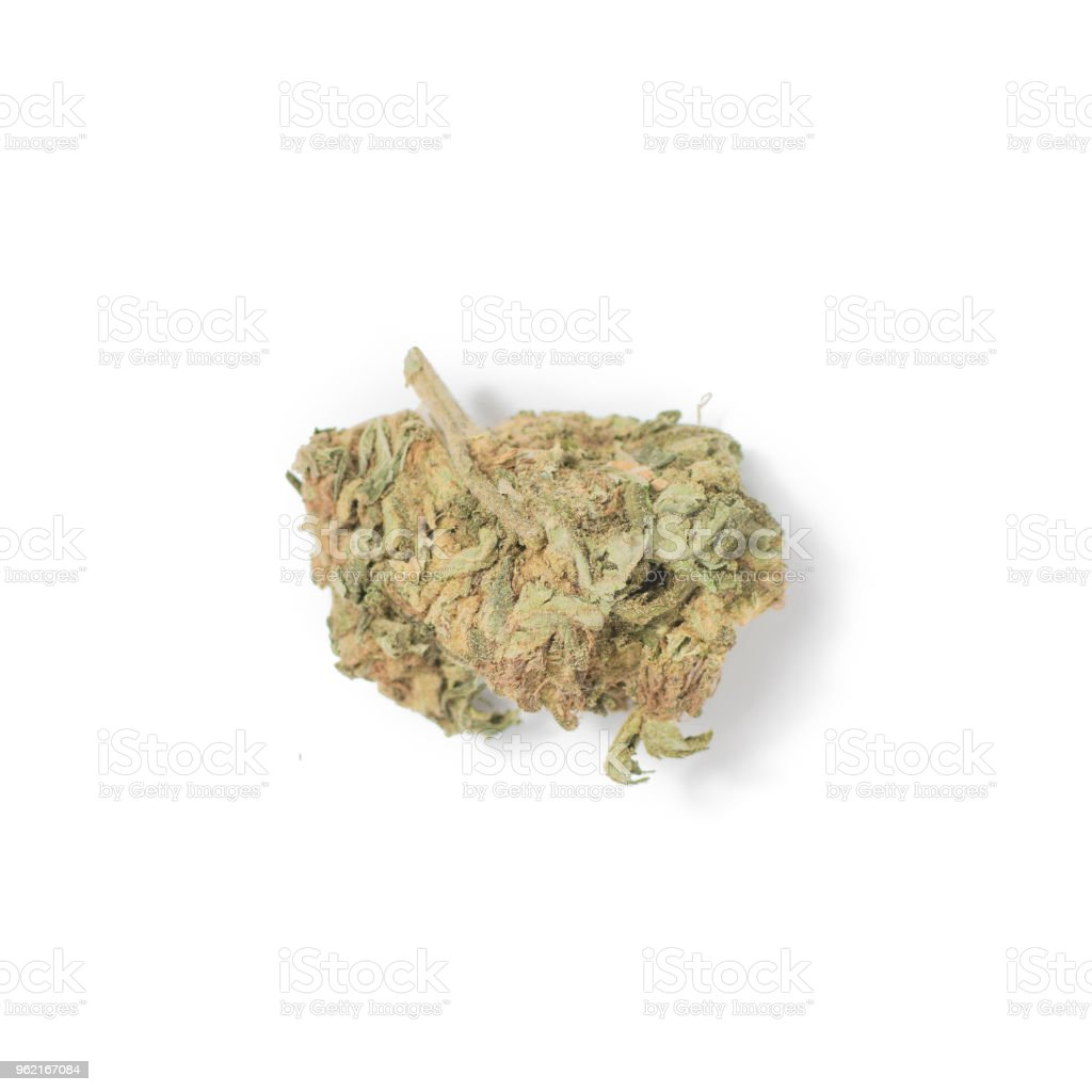 A bud of marijuana on a white background. Isolated. stock photo