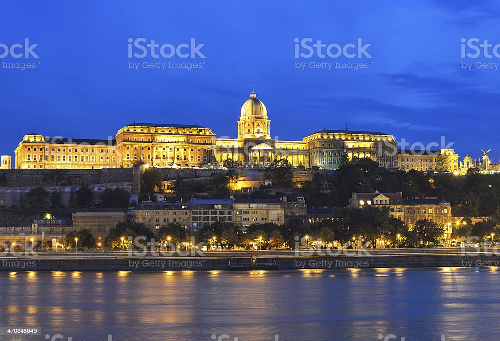 Buda Castle and Danube river at night stock photo