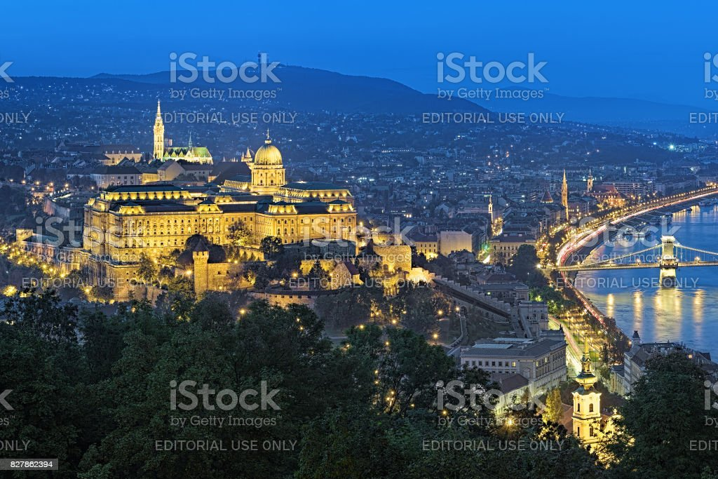 Buda Castle and right bank of Danube in Budapest in disk, Hungary stock photo