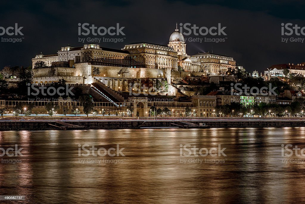 Buda Castle at night stock photo