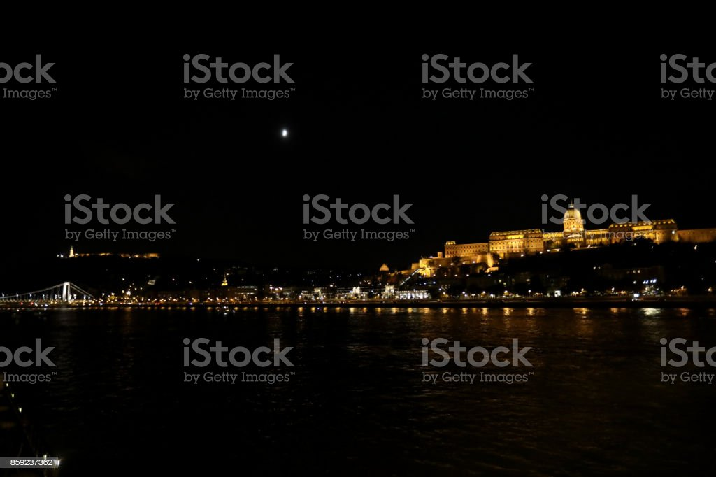 Danube and Budapest Historical Museum Castle Museum at the night.