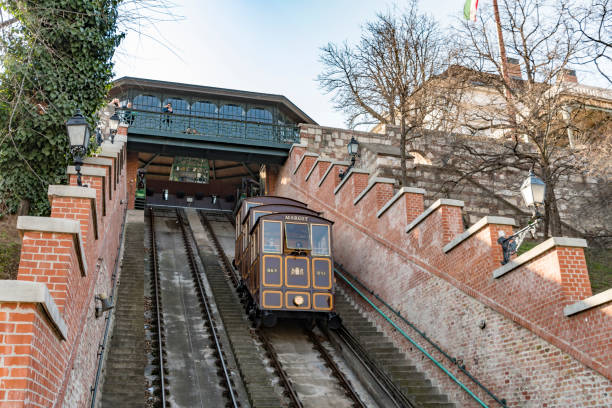 Buda Castle Funicular in Budapest stock photo