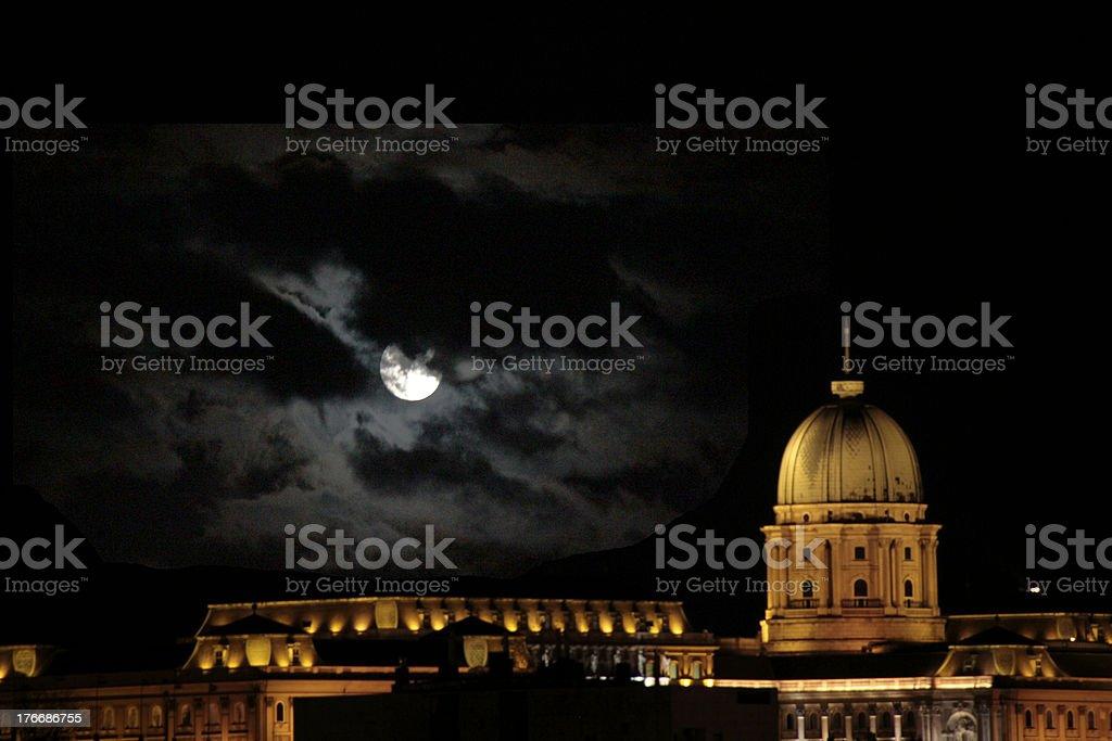 Buda Castle in Moonlight royalty-free stock photo