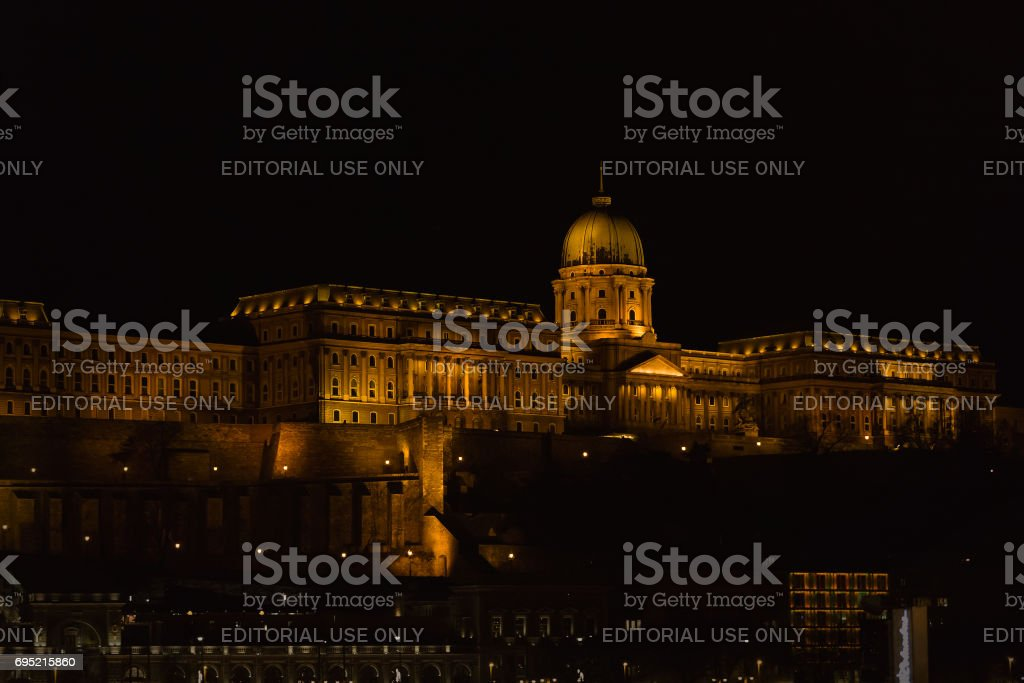 Buda Castle night stock photo