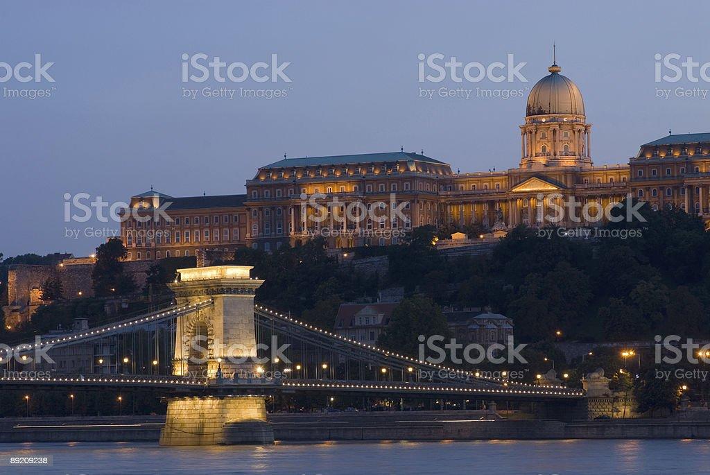 Buda palace and chain bridge stock photo