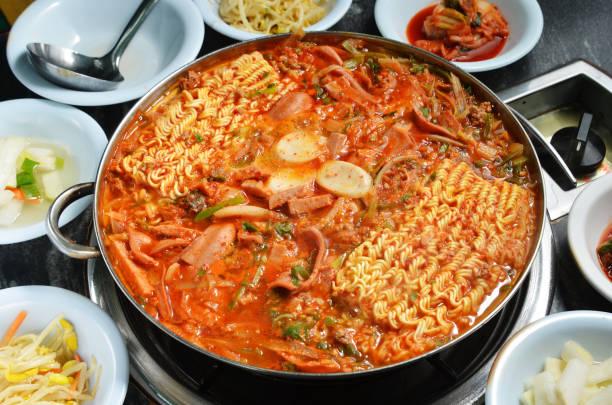 Budae jjigae hot pot Close up budae Jjigae hot pot kimchee stock pictures, royalty-free photos & images