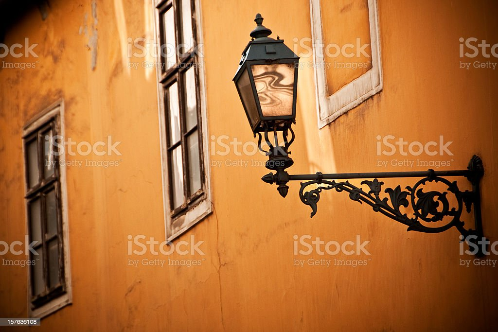 Budapest Antique Streetlight: An Old Castle District Street stock photo