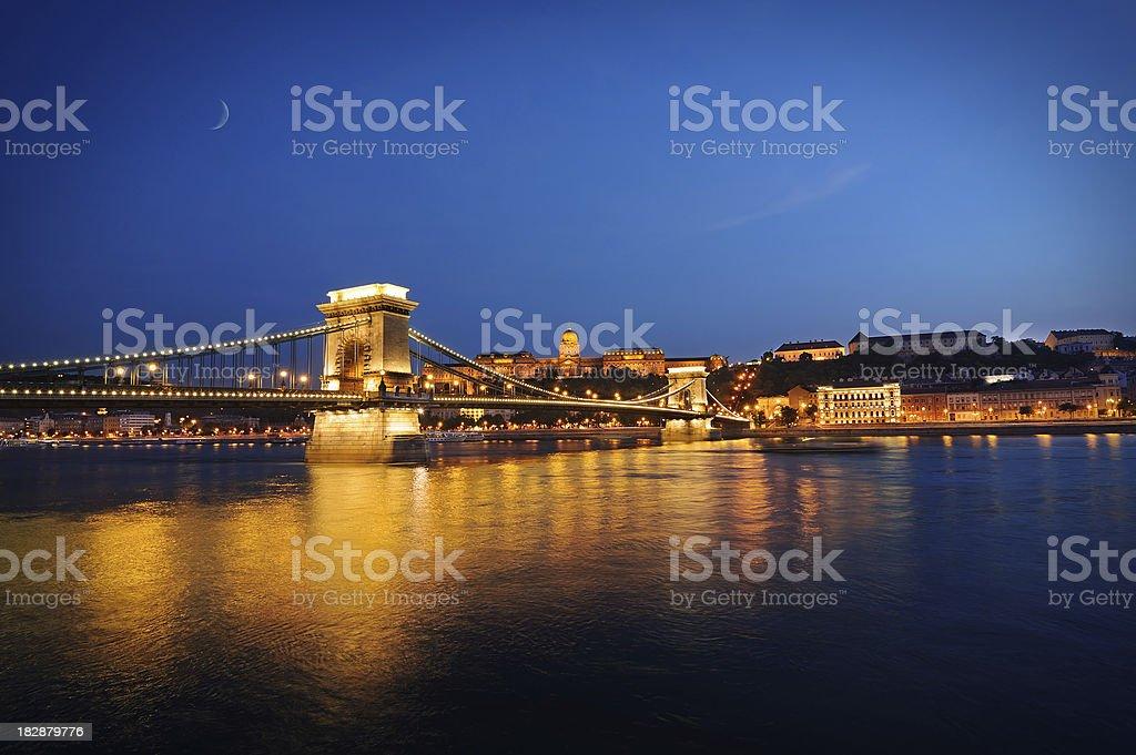 Budapest at night,  Szechenyi Chain Bridge. royalty-free stock photo