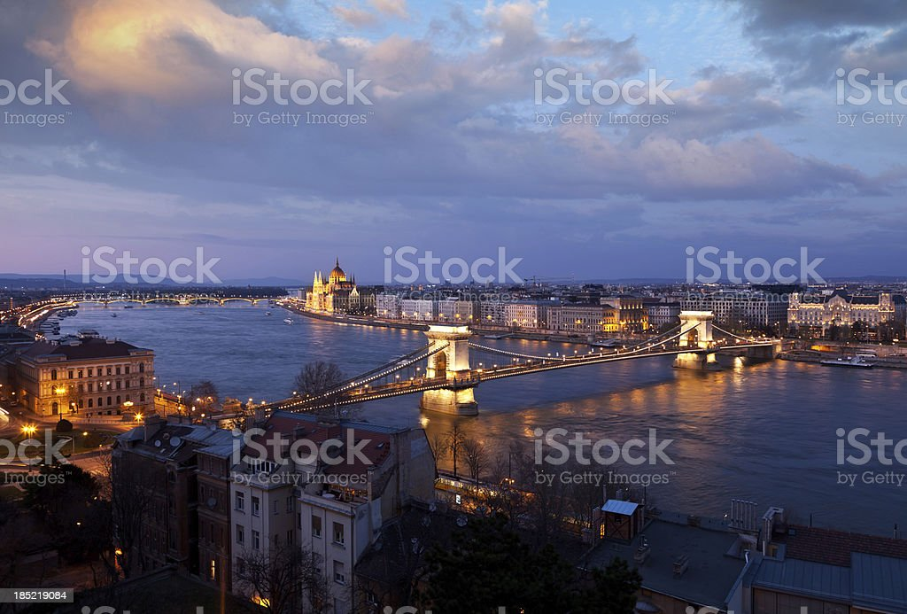 Budapest at sunset royalty-free stock photo