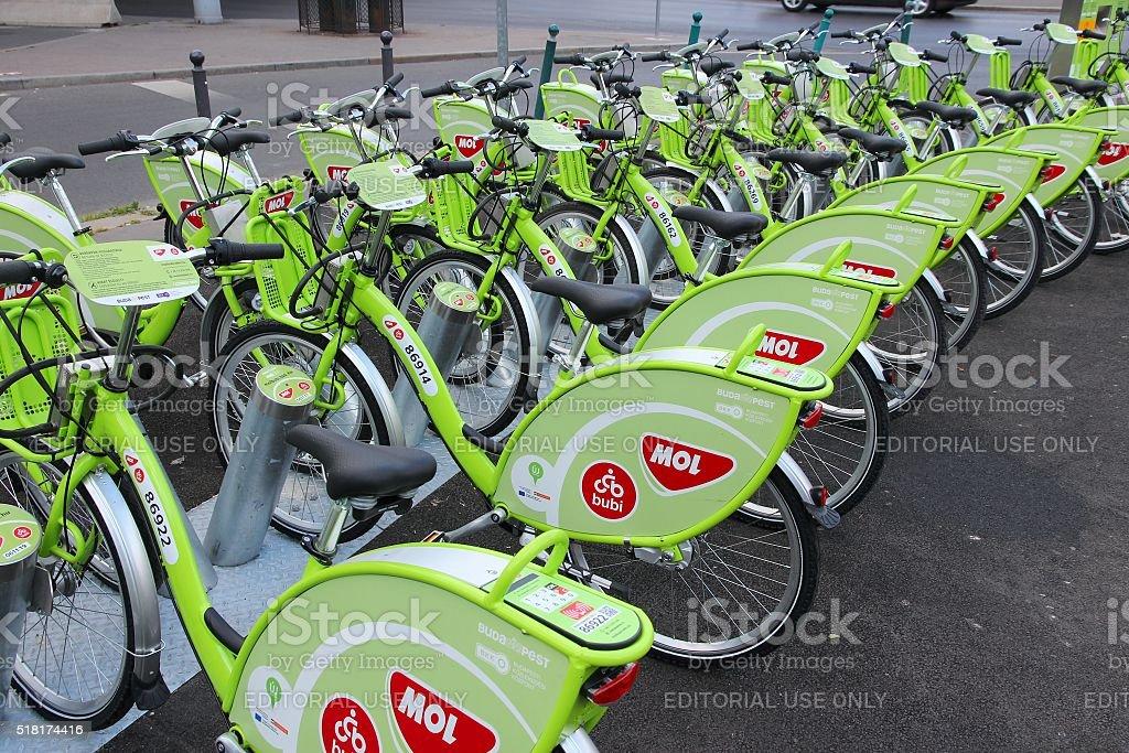 Budapest bicycles stock photo