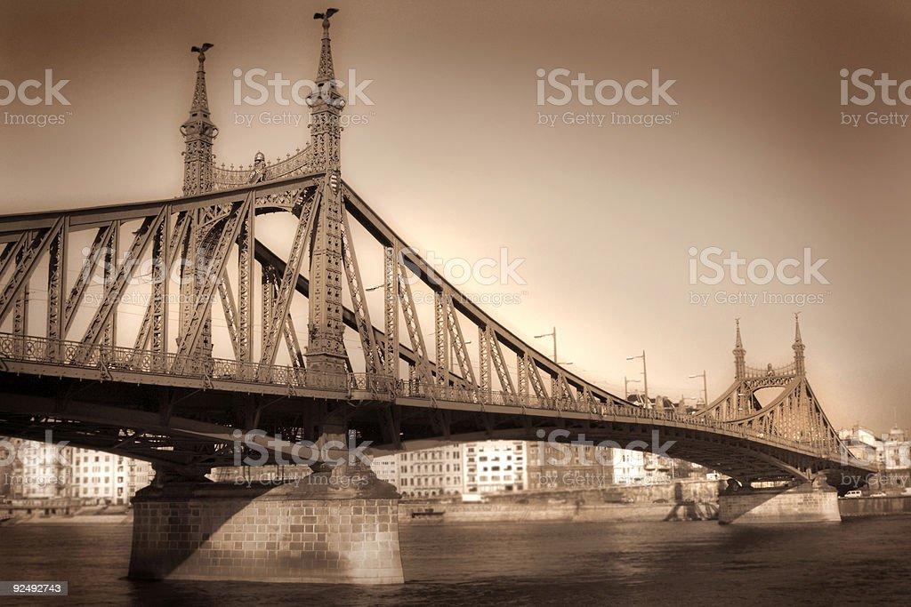 Budapest bridge sepia royalty-free stock photo