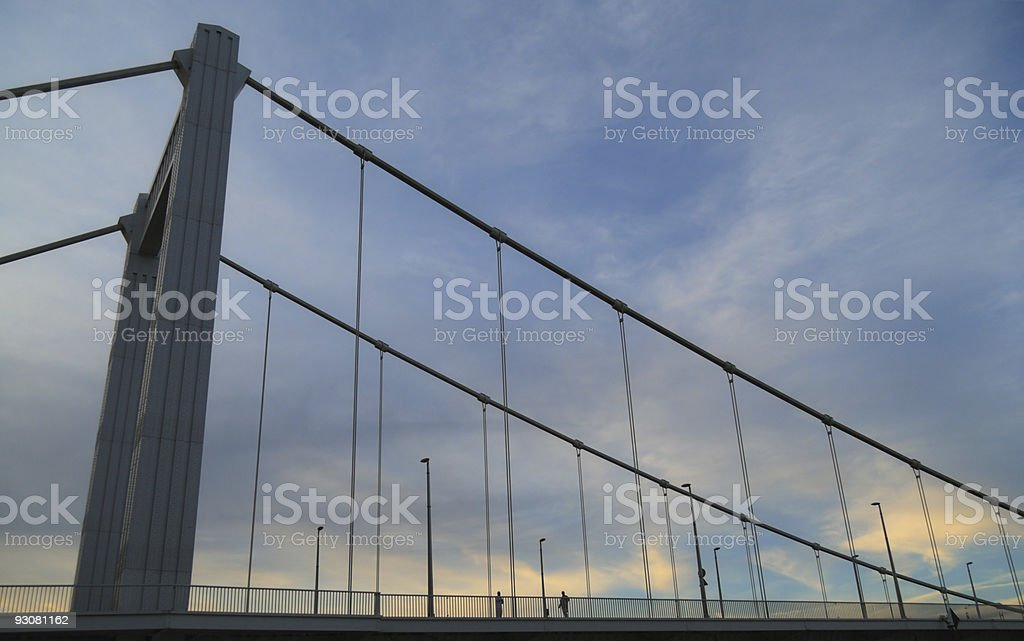Budapest bridge with two persons. stock photo