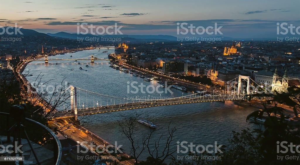 Budapest bridges in a row stock photo