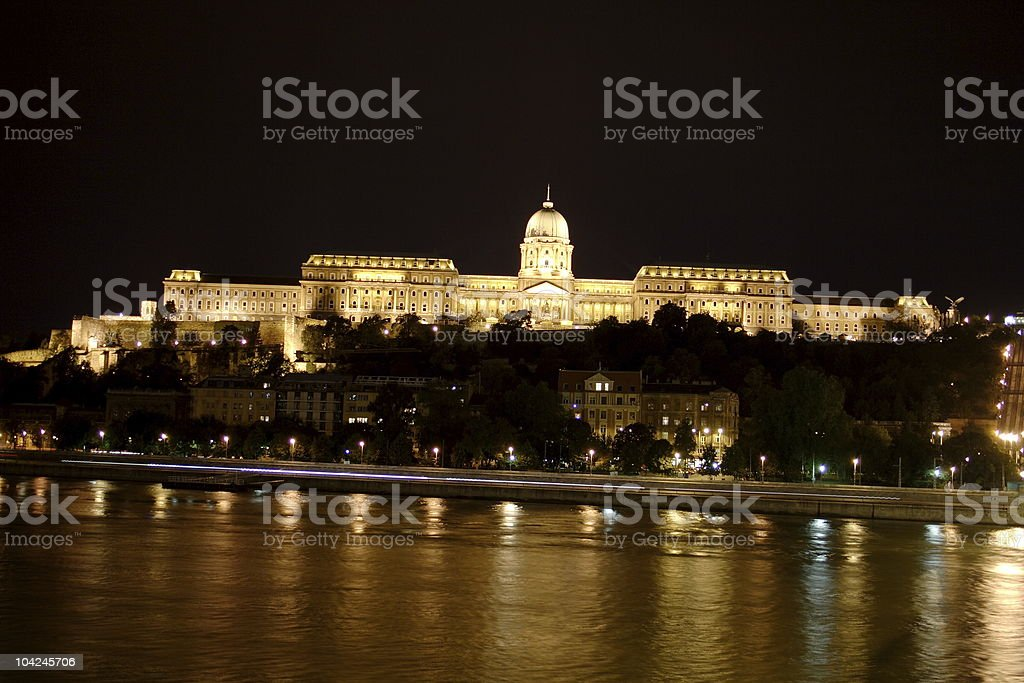 Budapest castle at night royalty-free stock photo