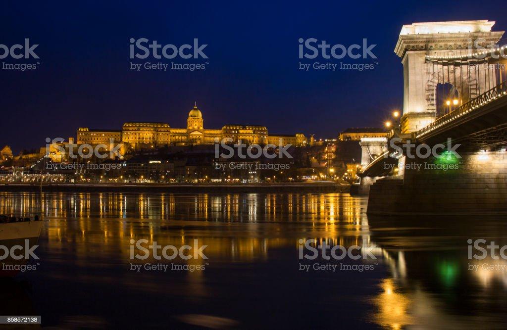 Budapest Castle at nightime stock photo