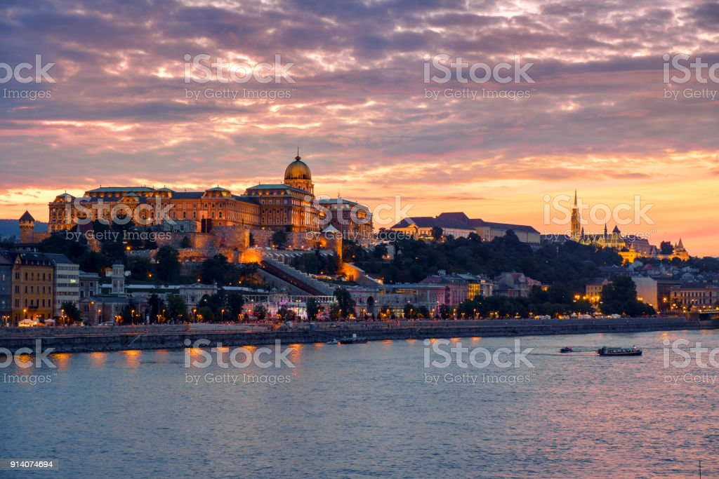 Budapest Castle at Sunset, Hungary stock photo