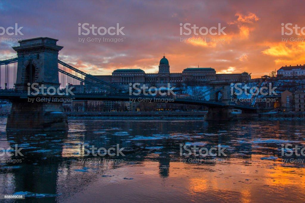 Budapest Castle at sunset stock photo
